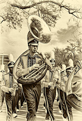 Louisiana State University Digital Art - Lsu Tigers Band 6 - Sepia by Steve Harrington