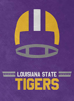Ncaa Mixed Media - Lsu Tigers Vintage Football Art by Joe Hamilton