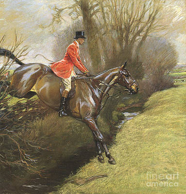 Dressage Painting - Lt Col Ted Lyon Jumping A Hedge by Cecil Charles Windsor Aldin