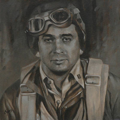 Lt Commandor Joe Gibson Art Print by Linda Eades Blackburn