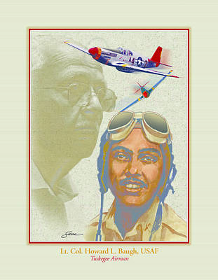 Portraits Mixed Media - Lt. Howard L. Baugh Usaf by Harold Shull