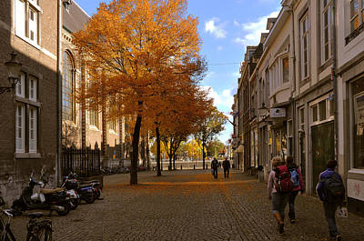 Square Photograph - Little Lady Mary Square In October Maastricht by Nop Briex