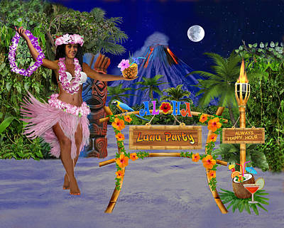 Digital Art - Luau Party by Glenn Holbrook