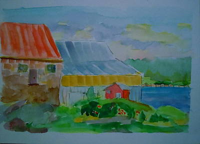 Art Print featuring the painting Lubec Fishery by Francine Frank