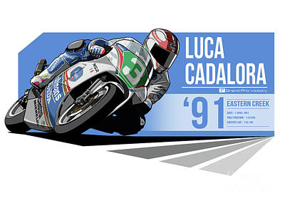 Indycar Digital Art - Luca Cadalora - 1991 Eastern Creek by Evan DeCiren