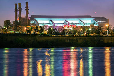 Photograph - Lucas Oil Stadium Lights On The White River   by Gregory Ballos