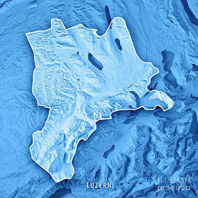 Lucerne Canton Switzerland 3d Render Topographic Map Blue Border Art Print by Frank Ramspott