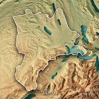 Lucerne Canton Switzerland 3d Render Topographic Map Border Art Print by Frank Ramspott