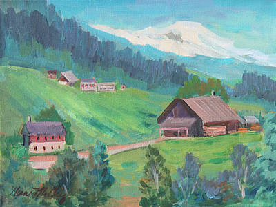 Art Print featuring the painting Lucerne Countryside by Diane McClary