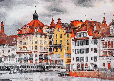 Digital Art - Luzern Watercolor 1 by Yury Malkov