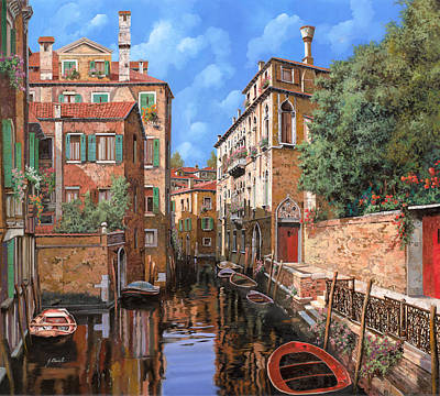 Bridges Painting - Luci A Venezia by Guido Borelli