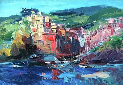 Portofino Beach Painting - Riomaggiore Cinque Terre Italy Art by Agostino Veroni