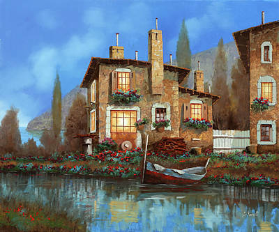Sky Blue Painting - Luci Nel Blu by Guido Borelli