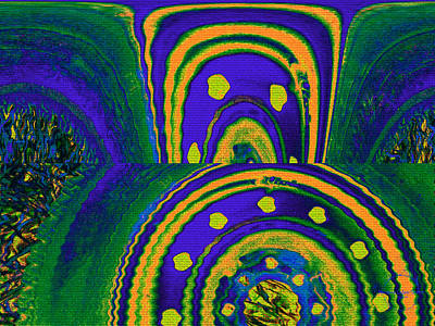 Digital Art - Lucid Dream Portal - Drinking A Citrus Cooler On The Grass Under A Midnight Sky by Absinthe Art By Michelle LeAnn Scott