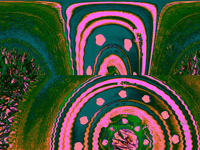 Digital Art - Lucid Dream Portal - Moss Covered Forest Eating Strawberry Ice Cream by Absinthe Art By Michelle LeAnn Scott