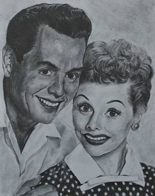Lucille Drawing - Lucille Ball And Desi Arnaz by Jessica Hallberg
