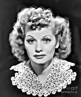 Lucille Ball, Hollywood Legend, Digital Art By Mary Bassett Art Print