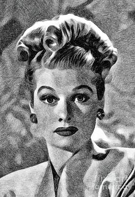 Musicians Drawings - Lucille Ball, Vintage Actress by JS by Esoterica Art Agency