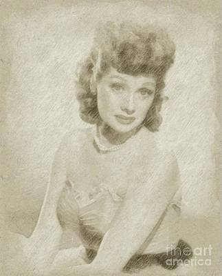 Star Trek Drawing - Lucille Ball Vintage Hollywood Actress by Frank Falcon