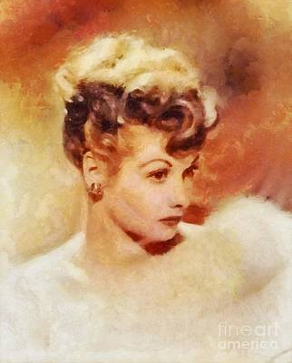 Lucille Painting - Lucille Ball, Vintage Hollywood Actress by Sarah Kirk