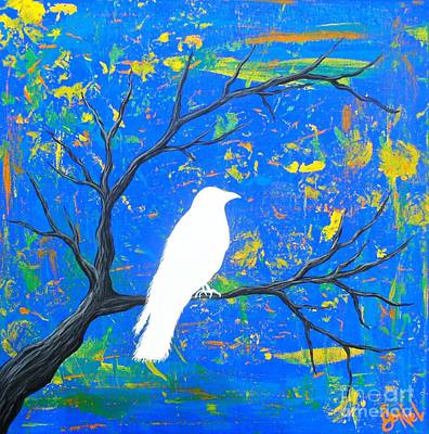 Painting - Luck Of The White Raven Blue by JoNeL Art