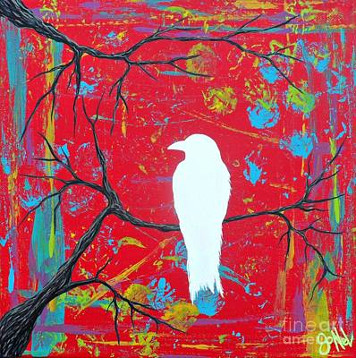 Painting - Luck Of The White Raven Red by JoNeL Art
