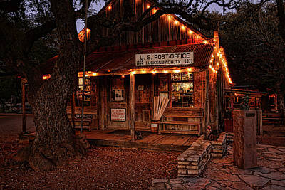 Photograph - Luckenbach At Night Horizontal by Judy Vincent
