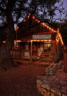 Photograph - Luckenbach At Night Vertical by Judy Vincent