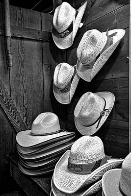 Photograph - Luckenbach Hats Black And White by Judy Vincent