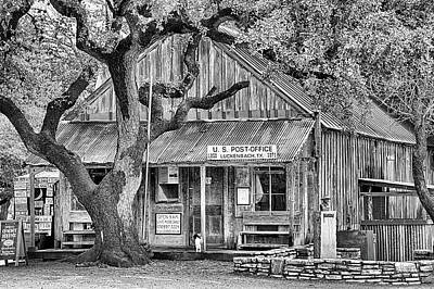 Photograph - Luckenbach Texas Black And White by JC Findley