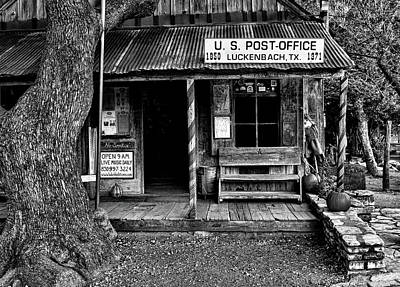 Photograph - Luckenbach Texas Black And White by Judy Vincent