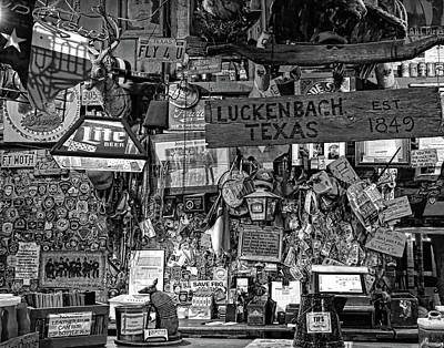Photograph - Luckenbach Texas Est 1849 Black And White by Judy Vincent