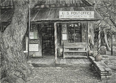 Photograph - Luckenbach Texas Pencil Sketch by Judy Vincent