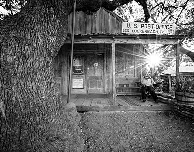 Photograph - Luckenbach, Texas, Post Office In Black And White by Andy Crawford