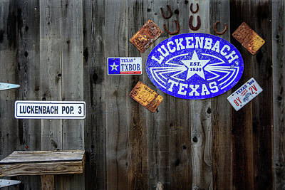 Photograph - Luckenbach Texas Signs, Tags And Horseshoes by Debra Martz