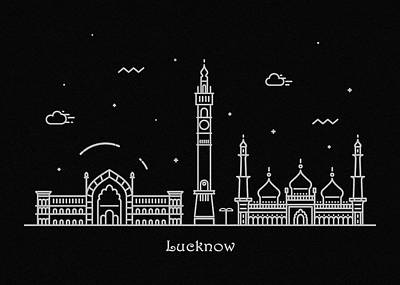 Abstract Landscape Drawing - Lucknow Skyline Travel Poster by Inspirowl Design