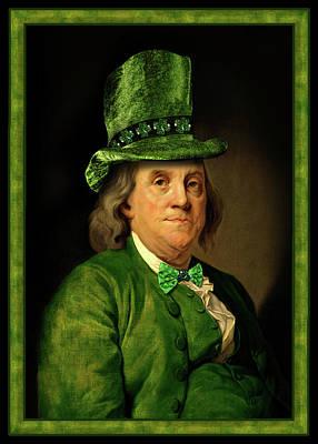 Lucky Ben Franklin In Green Art Print