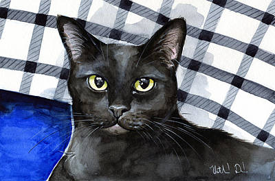 Painting - Lucky - Black Cat Portrait by Dora Hathazi Mendes