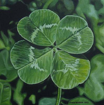 4 Leaf Clover Painting - Lucky by Caren Bestbier