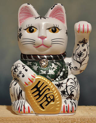 Sculpture - Lucky Cat Upcycled by Sylvie Proidl