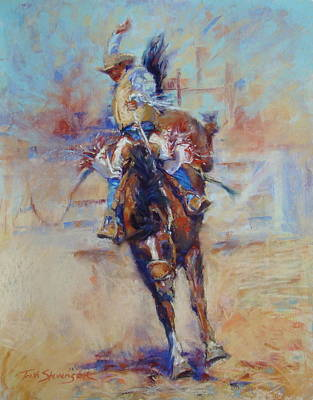 Bronc Painting - Lucky Chaps by Trish Stevenson