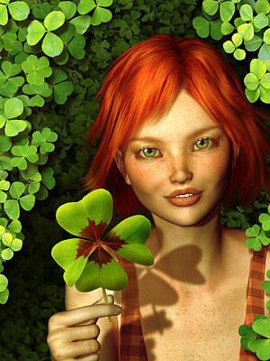 Mixed Media - Lucky Charm Fairy by Britta Glodde