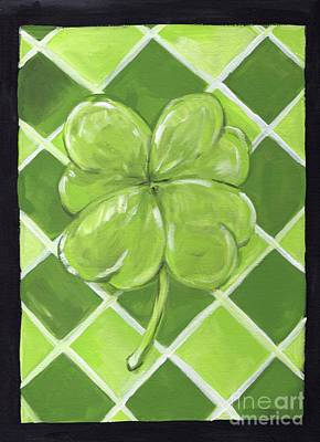 Leprechaun Painting - Lucky Clover by Anne Seay