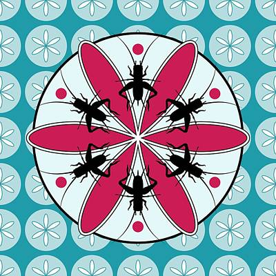 Digital Art - Lucky Crickets Floral Graphic by MM Anderson