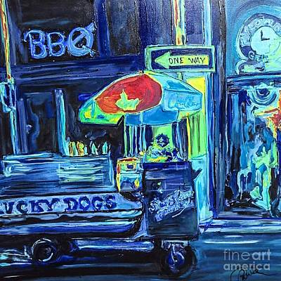 Hotdog Stands Painting - Lucky Dog by Paula   Baker