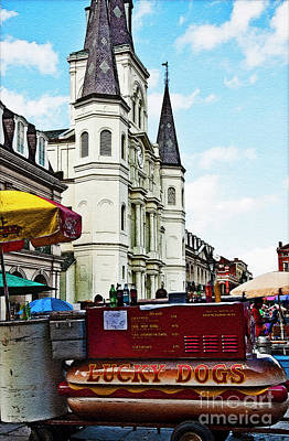 Lucky Dogs Wall Art - Photograph - Lucky Dogs And St. Louis Cathedral by Kathleen K Parker