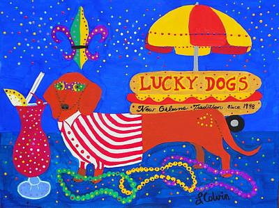 Pat O Briens Painting - Lucky Dogs by Linda Colvin