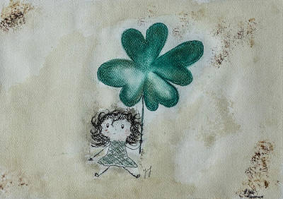 Little Girl Mixed Media - Lucky by Justyna Jucha