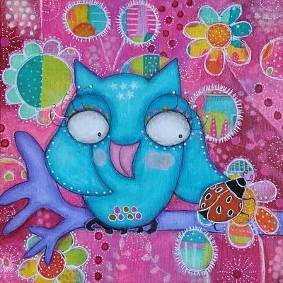 Mixed Media - Lucky Owl by Barbara Orenya