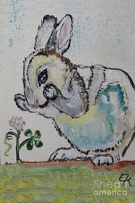 Leprechaun Painting - Lucky Rabbit Painting Print #895 by Ella Kaye Dickey